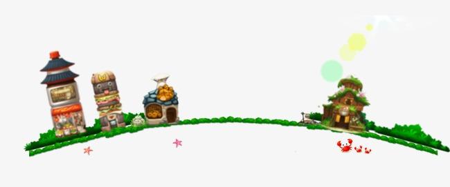 游戏场景手绘场景插画房屋店铺草坪草地烟囱木屋螃蟹海星-游戏场景图片