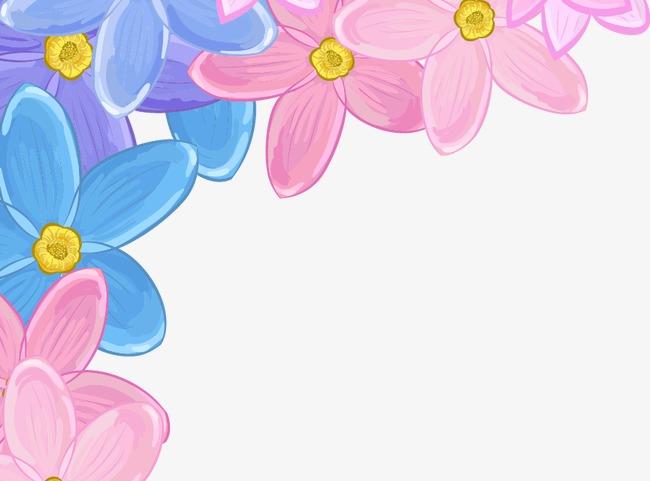 卡通手绘彩色花朵边框