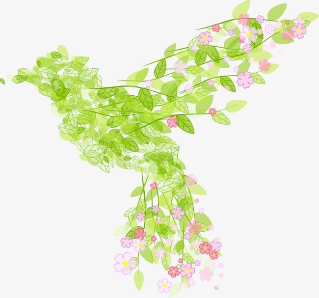 卡通手绘清新树叶鸟