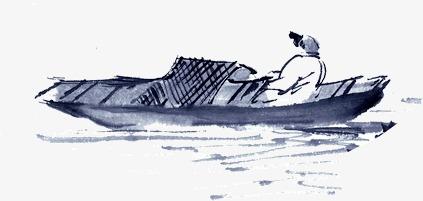 水墨画简洁小舟泛舟湖面