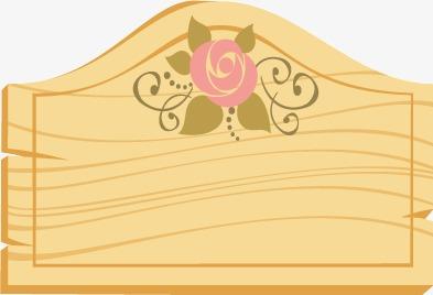 鲜花装饰木纹边框矢量图