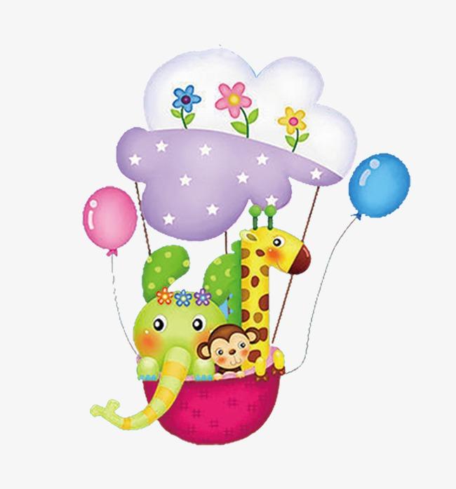 卡通可爱小动物坐气球