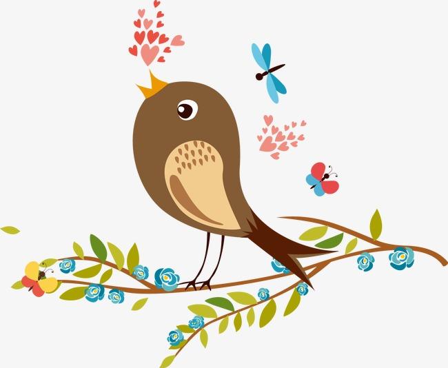 卡通手绘树枝小鸟