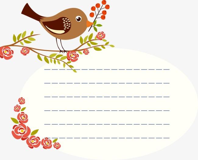 卡通手绘小鸟边框