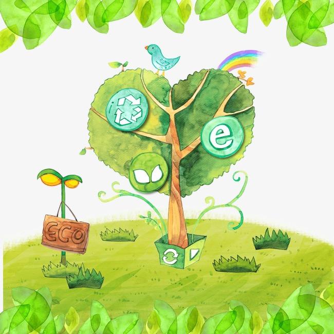 绿色 手绘 环保 树叶 树木 吊牌