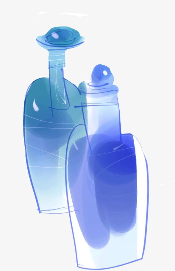手绘水彩画香水瓶