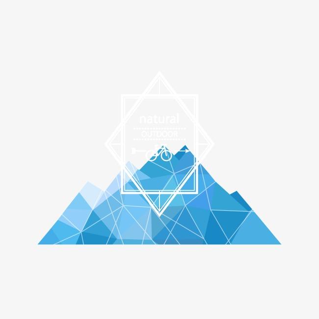 文案背景元素 蓝色 扁平化 山脉 不规则图形