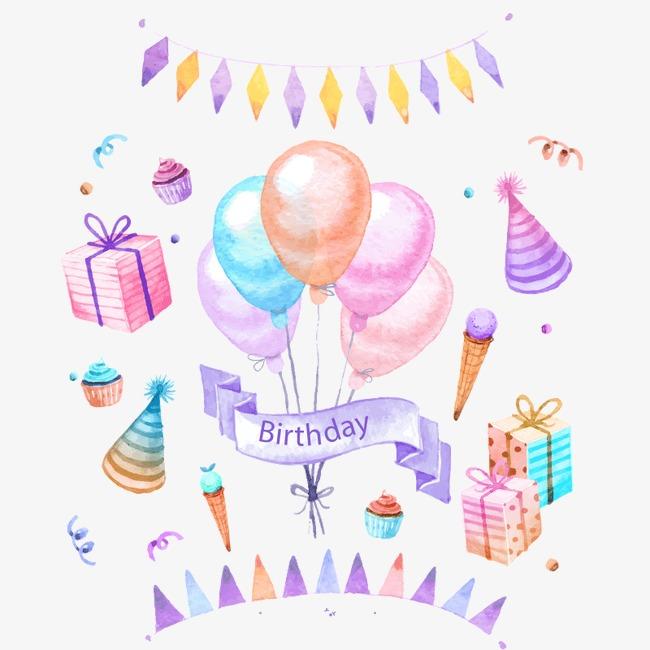 手绘 气球 彩带 礼物 节日装饰