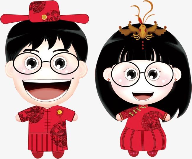 卡通眼镜_眼镜仔夫妻png素材-90设计图片