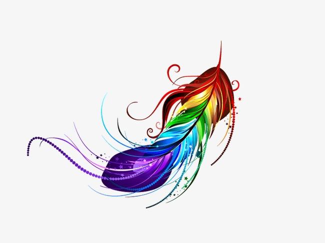 羽毛 彩虹渐变 矢量图 装饰图案 线条