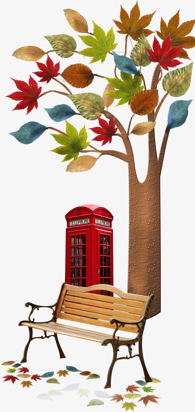 唯美精美卡通创意树房子椅子树叶落叶枫叶素材图片__.