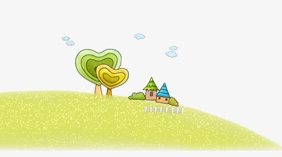唯美卡通可爱手绘草坪房子树云朵
