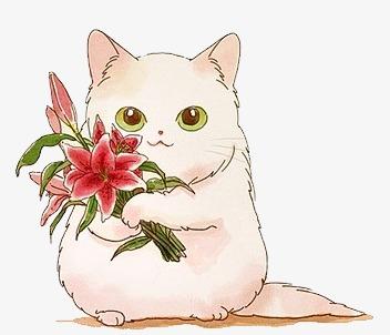 水彩手绘猫咪图案