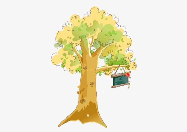 手绘 卡通 小清新 树木 暖色调 矢量图