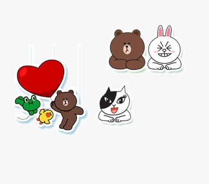 卡通 动物 背景装饰图案 手绘可爱表情 心形