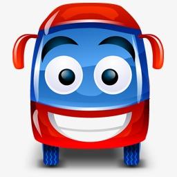 公共汽车红色的车happy-bus-icons图片