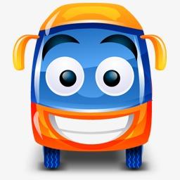 公共汽车橙色车happy-bus-icons图片