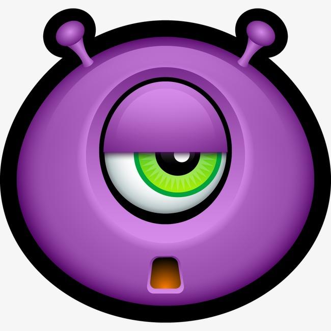外星人头像巴迪生物独眼巨人表情符号迈克怪物怪物悲伤笑脸笑脸紫色图片