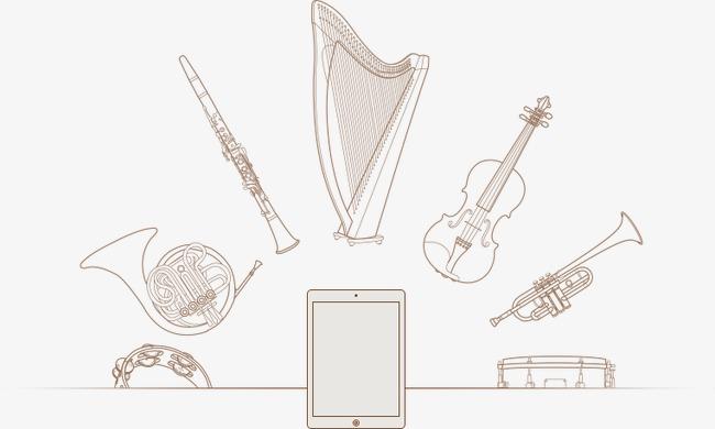 卡通手绘乐器