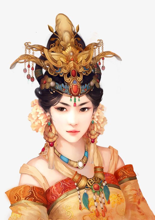 华丽凤冠美女古风手绘