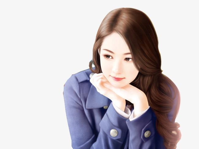 蓝衣长卷发知性美女手绘