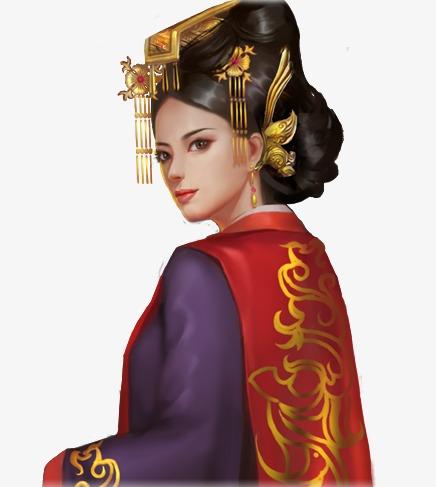 端庄皇后古风手绘素材