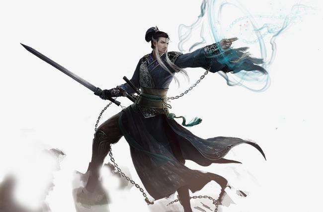 黑衣剑仙古风手绘