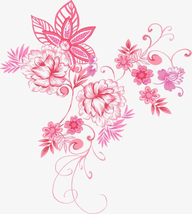 粉色手绘古风花纹