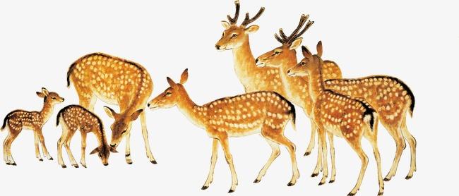 手繪油畫小鹿風景