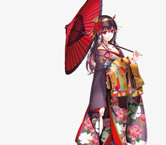撑伞穿和服的手绘女子【高清装饰元素png素材】-90设计