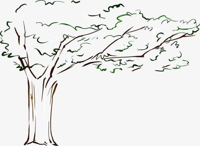 手绘漫画卡通大树