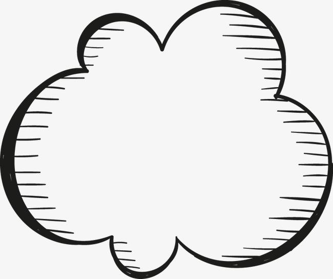 手绘简单云朵黑白图片
