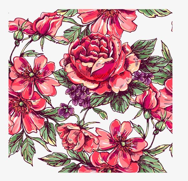 卡通手绘花玫瑰花底纹