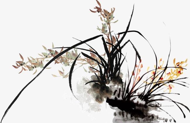 水墨画叶子树图片