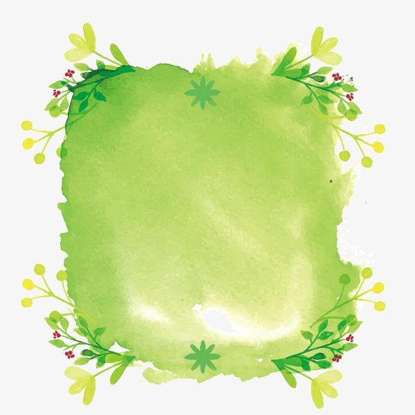 彩绘 绿色 春天 树叶 背景