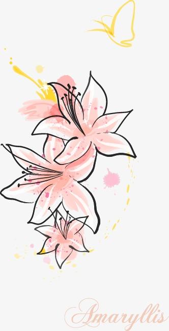 卡通手绘粉色唯美百合花