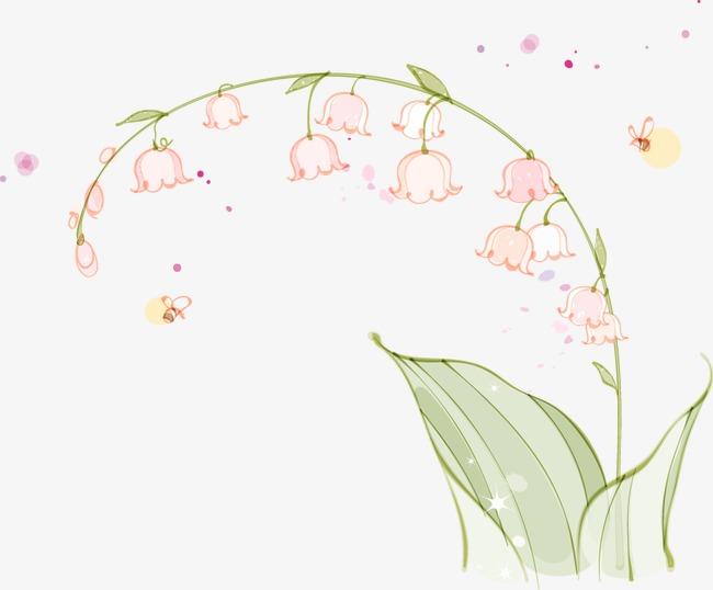 卡通手绘唯美白色小花叶子
