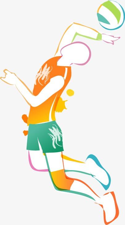 卡通手绘彩色人物运动篮球