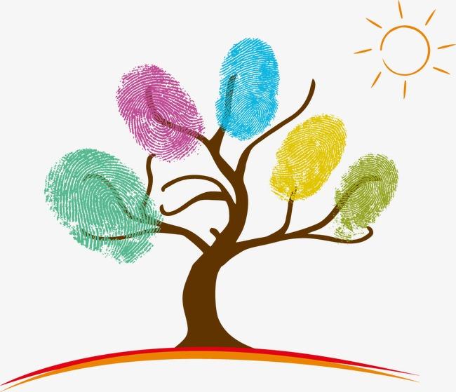 抽象炫彩树指纹创意