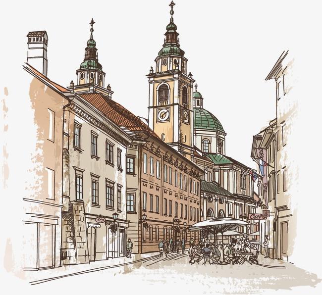 手绘水彩英国城市房子城堡欧式建