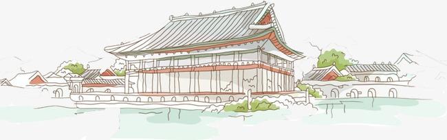 唯美精美中国风建筑手绘线条复古房子树水