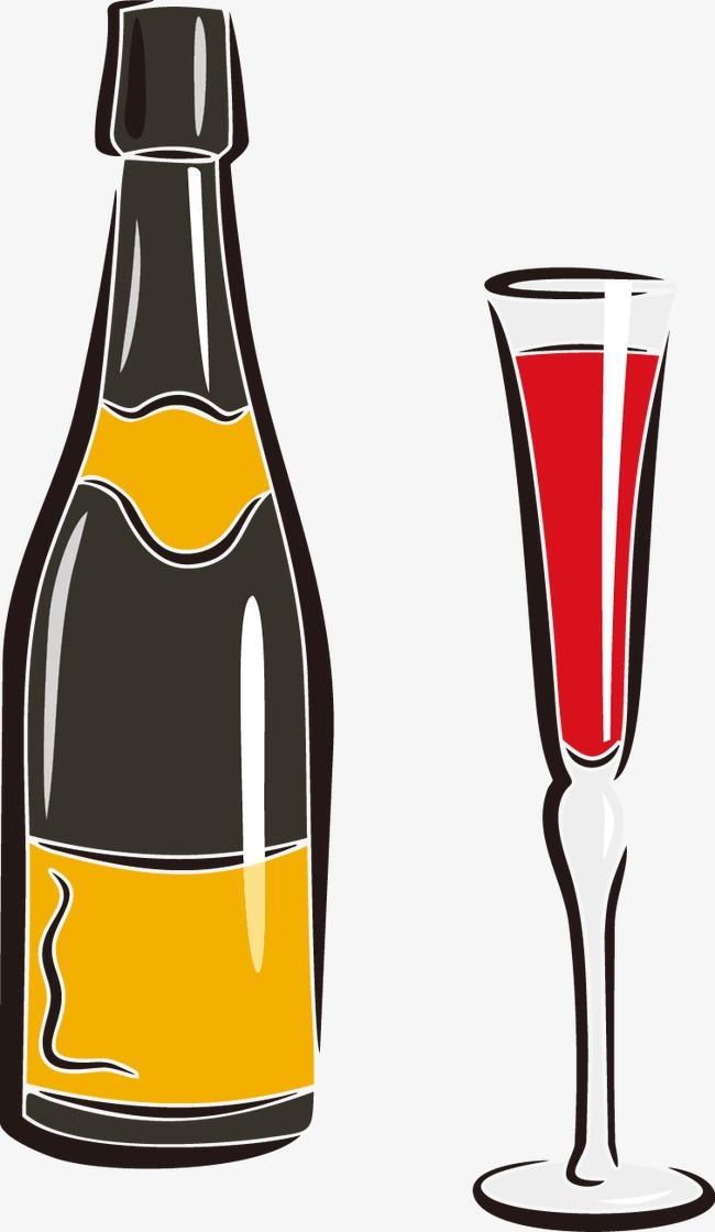 卡通手绘酒杯酒瓶
