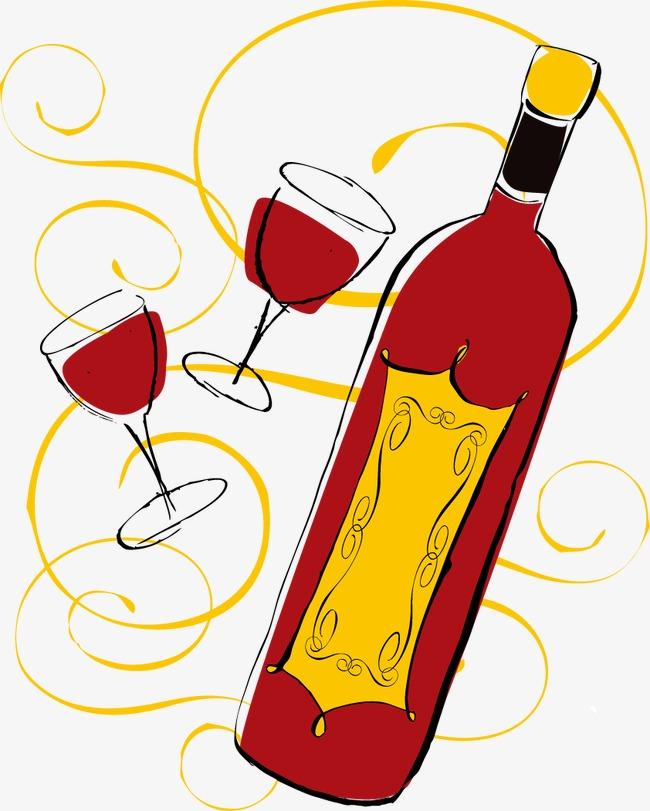 卡通手绘红酒酒杯png素材-90设计