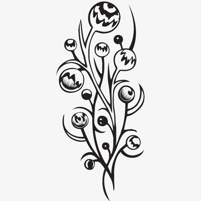 黑白素描画花朵