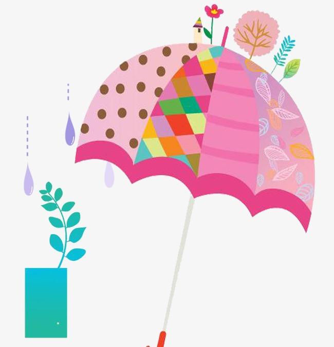 雨 手绘 雨伞 糖果色 卡通 装饰图案