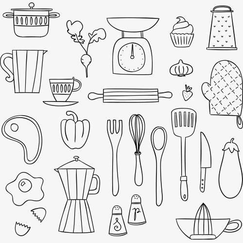 简笔画 厨房用品 果蔬 餐具 线条画 铅笔画 蔬菜png图片素材高速下载.图片