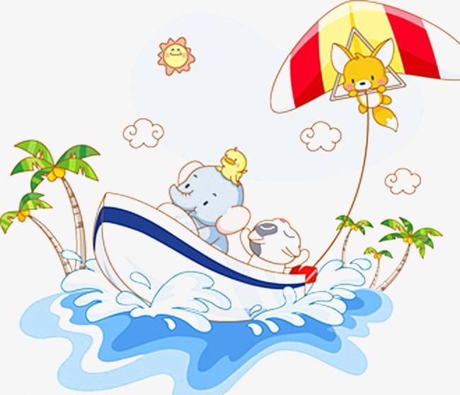 手绘素材 海上小船 可爱素材             此素材是90设计网官方设计