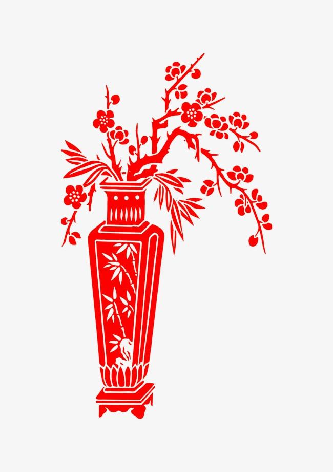 尺寸:2480*3508 90设计提供高清png素材免费下载,本次红色花瓶剪纸