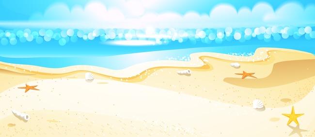 夏日卡通沙滩背景png素材-90设计