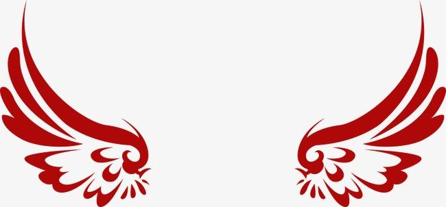 手绘唯美红色翅膀